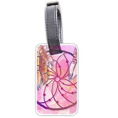Watercolor Cute Dreamcatcher With Feathers Background Luggage Tags (two Sides)