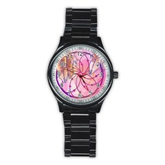 Watercolor cute dreamcatcher with feathers background Stainless Steel Round Watch