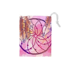Watercolor Cute Dreamcatcher With Feathers Background Drawstring Pouches (small)