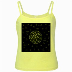 Witchcraft symbols  Yellow Spaghetti Tank
