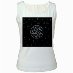 Witchcraft symbols  Women s White Tank Top