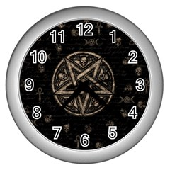 Witchcraft symbols  Wall Clocks (Silver)