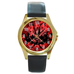 Scary Background Round Gold Metal Watch