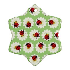Ladybugs Pattern Snowflake Ornament (Two Sides)