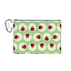 Ladybugs Pattern Canvas Cosmetic Bag (M)