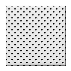 Classic Large Black Polkadot on White Tile Coasters