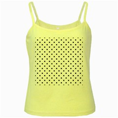Classic Large Black Polkadot on White Yellow Spaghetti Tank