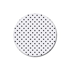 Classic Large Black Polkadot on White Rubber Round Coaster (4 pack)
