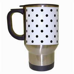 Classic Large Black Polkadot on White Travel Mugs (White)