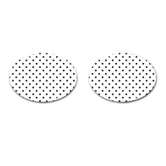 Classic Large Black Polkadot on White Cufflinks (Oval)