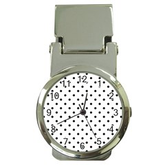 Classic Large Black Polkadot on White Money Clip Watches