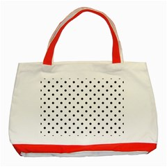 Classic Large Black Polkadot on White Classic Tote Bag (Red)