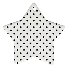 Classic Large Black Polkadot on White Star Ornament (Two Sides)
