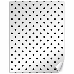 Classic Large Black Polkadot on White Canvas 18  x 24