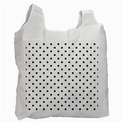 Classic Large Black Polkadot on White Recycle Bag (Two Side)