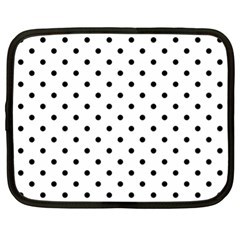 Classic Large Black Polkadot on White Netbook Case (XL)