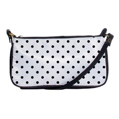 Classic Large Black Polkadot on White Shoulder Clutch Bags