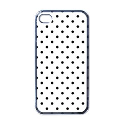 Classic Large Black Polkadot on White Apple iPhone 4 Case (Black)