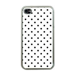 Classic Large Black Polkadot On White Apple Iphone 4 Case (clear)