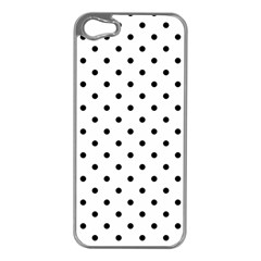 Classic Large Black Polkadot on White Apple iPhone 5 Case (Silver)