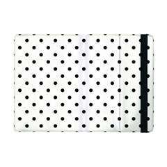 Classic Large Black Polkadot on White Apple iPad Mini Flip Case