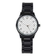 Classic Large Black Polkadot on White Stainless Steel Round Watch