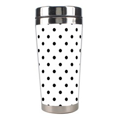 Classic Large Black Polkadot on White Stainless Steel Travel Tumblers