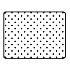 Classic Large Black Polkadot on White Double Sided Fleece Blanket (Small)