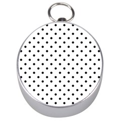 Classic Large Black Polkadot on White Silver Compasses