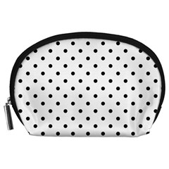 Classic Large Black Polkadot on White Accessory Pouches (Large)