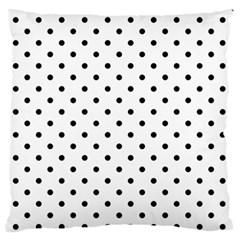 Classic Large Black Polkadot on White Large Flano Cushion Case (Two Sides)