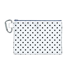 Classic Large Black Polkadot on White Canvas Cosmetic Bag (M)