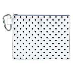 Classic Large Black Polkadot on White Canvas Cosmetic Bag (XXL)