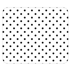Classic Large Black Polkadot on White Double Sided Flano Blanket (Small)