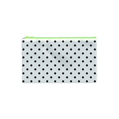 Classic Large Black Polkadot on White Cosmetic Bag (XS)