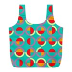 Semicircles And Arcs Pattern Full Print Recycle Bags (L)  Back