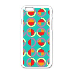 Semicircles And Arcs Pattern Apple iPhone 6/6S White Enamel Case