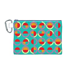 Semicircles And Arcs Pattern Canvas Cosmetic Bag (M)