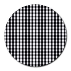 Small Black White Gingham Checked Square Pattern Round Mousepads