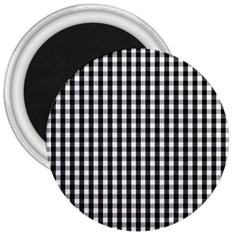 Small Black White Gingham Checked Square Pattern 3  Magnets