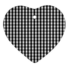 Small Black White Gingham Checked Square Pattern Ornament (Heart)