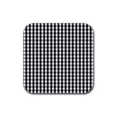 Small Black White Gingham Checked Square Pattern Rubber Coaster (Square)