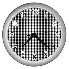 Small Black White Gingham Checked Square Pattern Wall Clocks (silver)