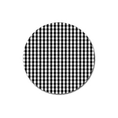 Small Black White Gingham Checked Square Pattern Magnet 3  (Round)