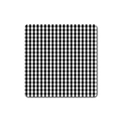 Small Black White Gingham Checked Square Pattern Square Magnet