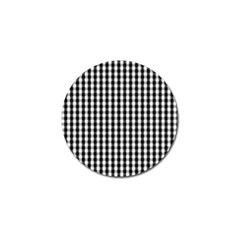 Small Black White Gingham Checked Square Pattern Golf Ball Marker (10 pack)