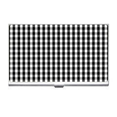 Small Black White Gingham Checked Square Pattern Business Card Holders