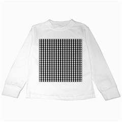 Small Black White Gingham Checked Square Pattern Kids Long Sleeve T-Shirts