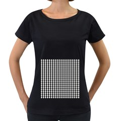Small Black White Gingham Checked Square Pattern Women s Loose-Fit T-Shirt (Black)