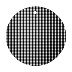 Small Black White Gingham Checked Square Pattern Round Ornament (Two Sides)
